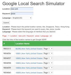 google local search simulator